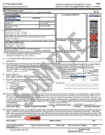 International Student I-20 form for Beauty School in the USA